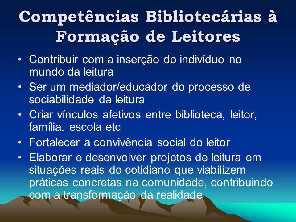 Competências Bibliotecárias à Formação de Leitores Contribuir com a inserção do indivíduo no mundo da leitura Ser um mediador/educador do processo de