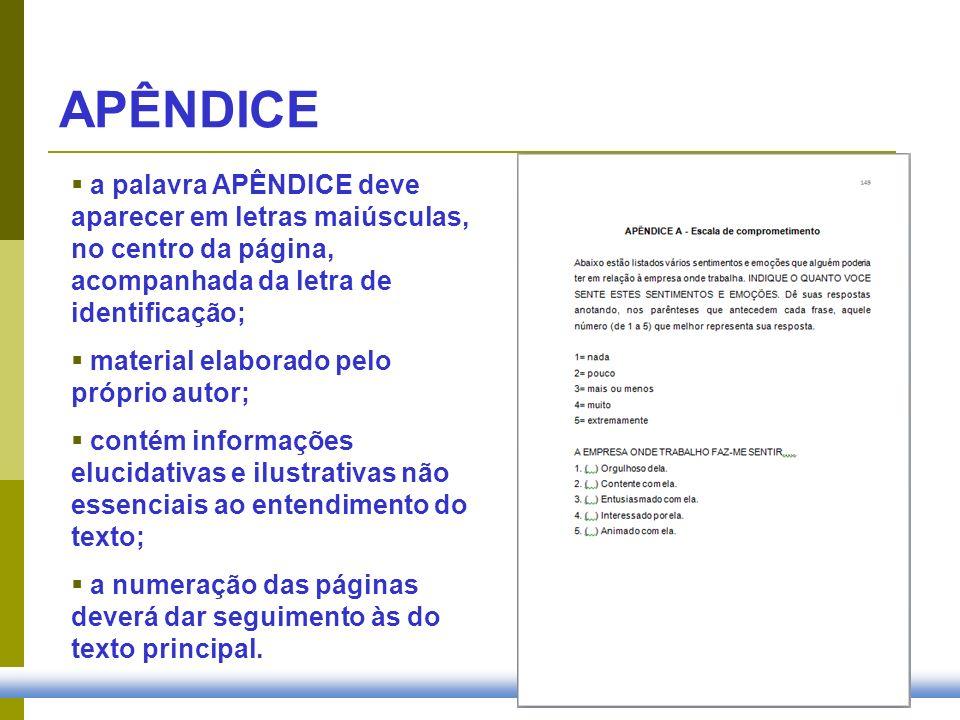 APÊNDICE a palavra APÊNDICE deve aparecer em letras maiúsculas, no centro da página, acompanhada da letra de identificação; material elaborado pelo pr