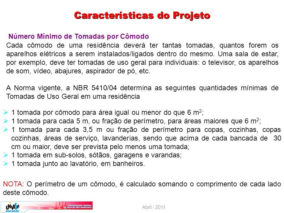 Abril / 2011 Características do Projeto