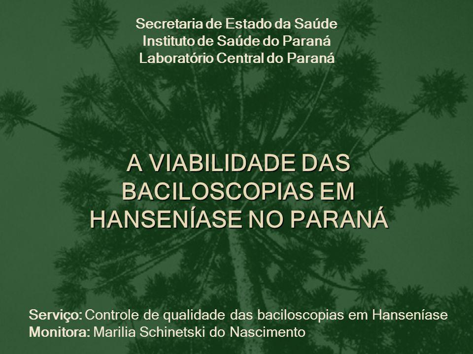 Secretaria de Estado da Saúde Instituto de Saúde do Paraná Laboratório Central do Paraná Serviço: Controle de qualidade das baciloscopias em Hansenías