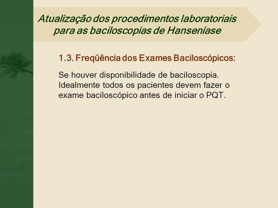 1.3. Freqüência dos Exames Baciloscópicos: Se houver disponibilidade de baciloscopia. Idealmente todos os pacientes devem fazer o exame baciloscópico