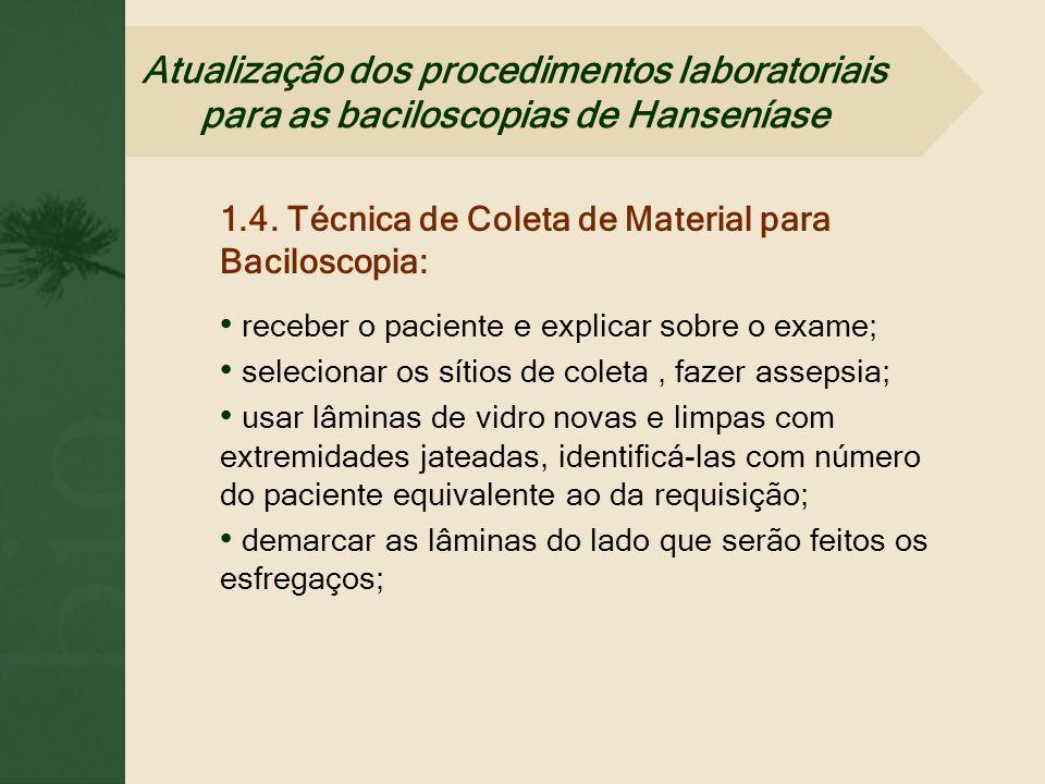 1.4. Técnica de Coleta de Material para Baciloscopia: receber o paciente e explicar sobre o exame; selecionar os sítios de coleta, fazer assepsia; usa