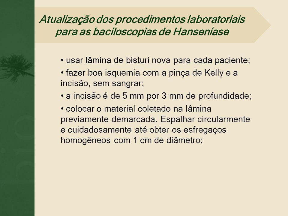 usar lâmina de bisturi nova para cada paciente; fazer boa isquemia com a pinça de Kelly e a incisão, sem sangrar; a incisão é de 5 mm por 3 mm de prof