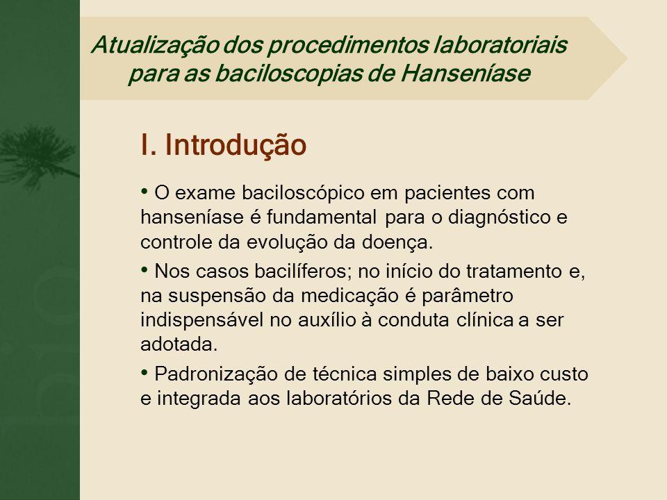 Atualização dos procedimentos laboratoriais para as baciloscopias de Hanseníase I. Introdução O exame baciloscópico em pacientes com hanseníase é fund