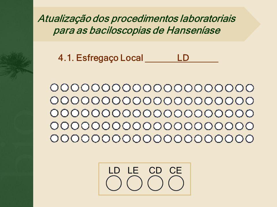 4.1. Esfregaço Local LD. LD LE CD CE Atualização dos procedimentos laboratoriais para as baciloscopias de Hanseníase