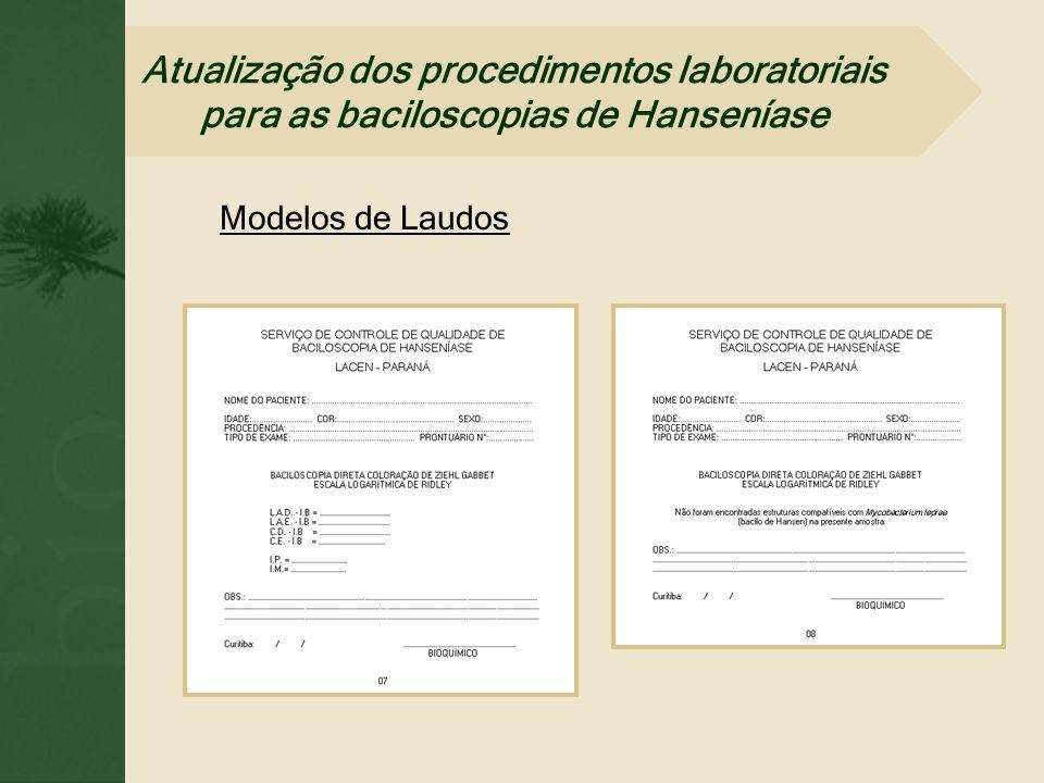 Modelos de Laudos Atualização dos procedimentos laboratoriais para as baciloscopias de Hanseníase