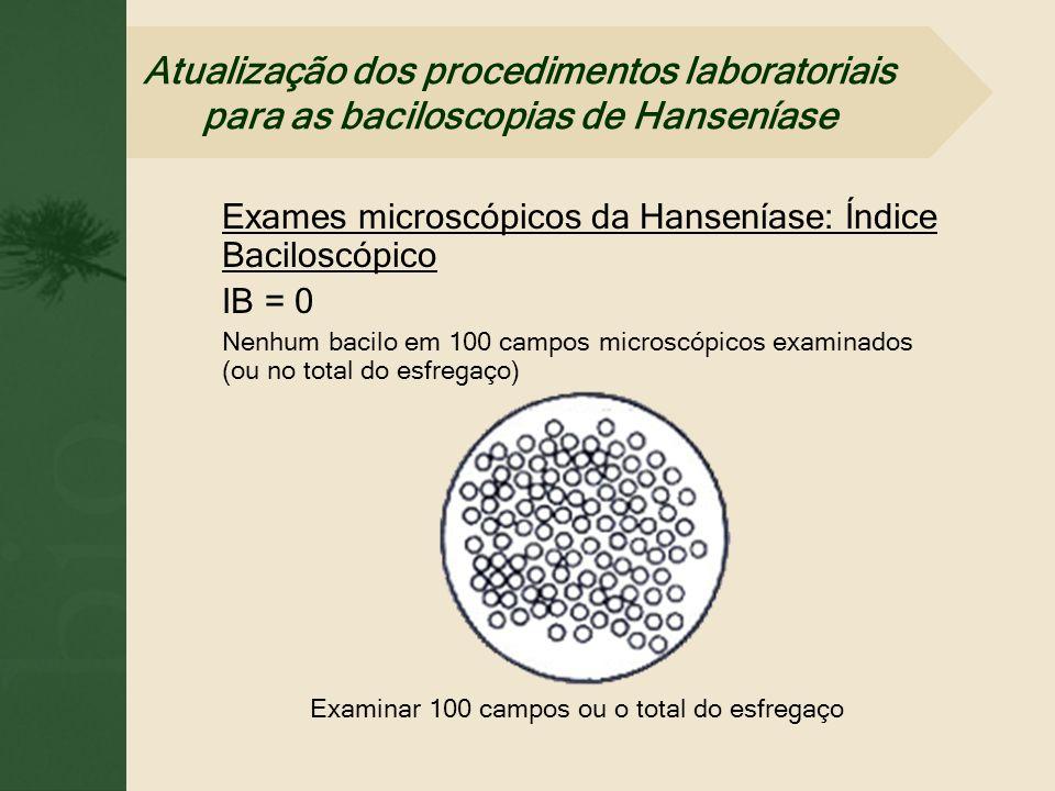 Exames microscópicos da Hanseníase: Índice Baciloscópico IB = 0 Nenhum bacilo em 100 campos microscópicos examinados (ou no total do esfregaço) Examin