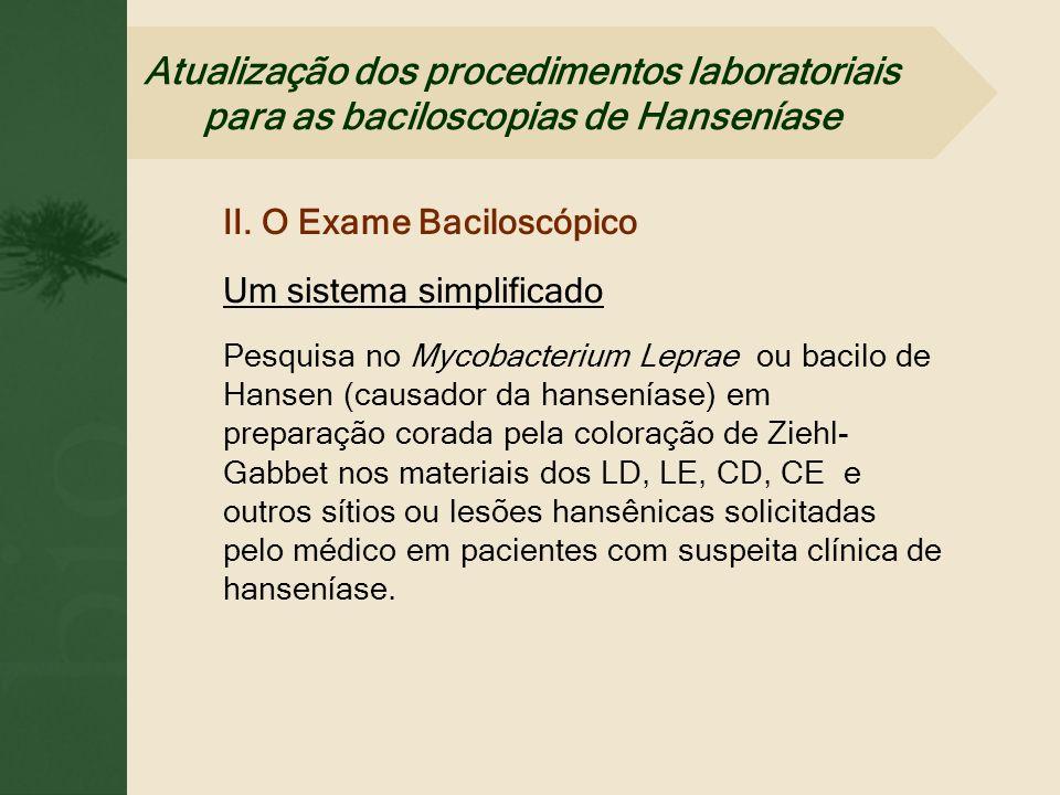 II. O Exame Baciloscópico Um sistema simplificado Pesquisa no Mycobacterium Leprae ou bacilo de Hansen (causador da hanseníase) em preparação corada p