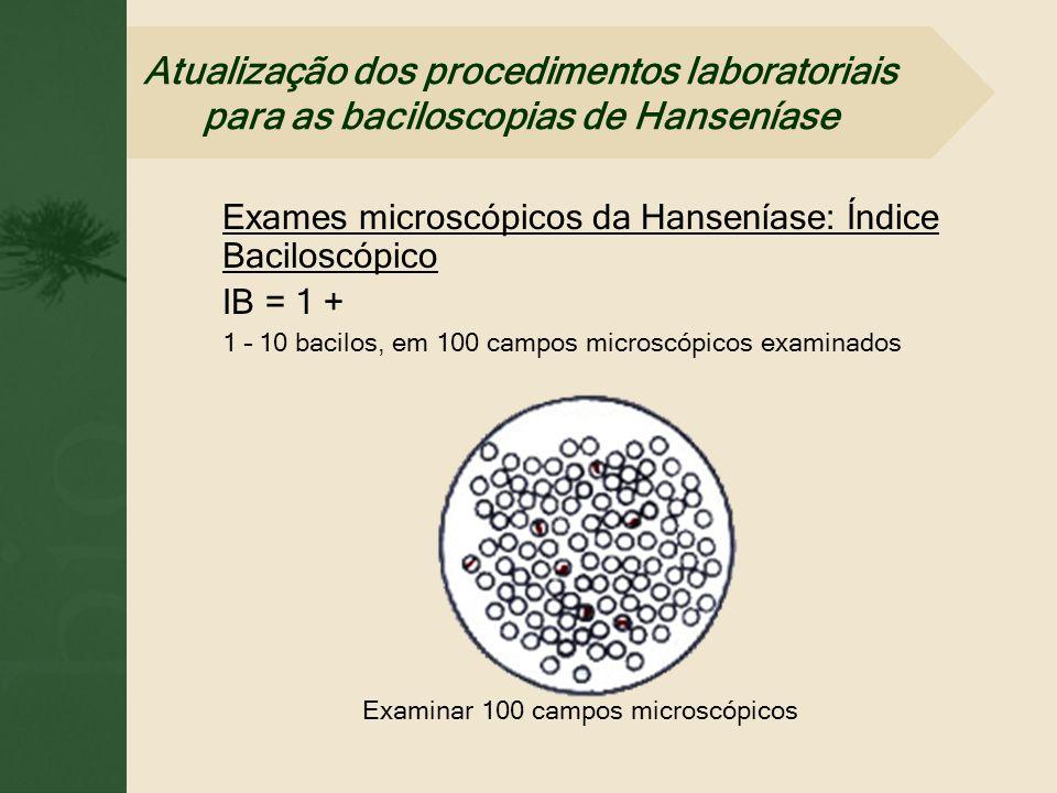 Exames microscópicos da Hanseníase: Índice Baciloscópico IB = 1 + 1 – 10 bacilos, em 100 campos microscópicos examinados Examinar 100 campos microscóp