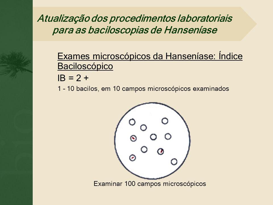 Exames microscópicos da Hanseníase: Índice Baciloscópico IB = 2 + 1 – 10 bacilos, em 10 campos microscópicos examinados Examinar 100 campos microscópi