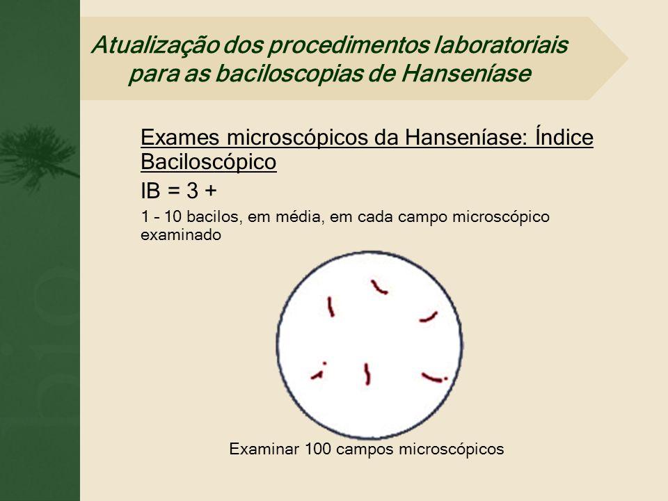 Exames microscópicos da Hanseníase: Índice Baciloscópico IB = 3 + 1 – 10 bacilos, em média, em cada campo microscópico examinado Examinar 100 campos m