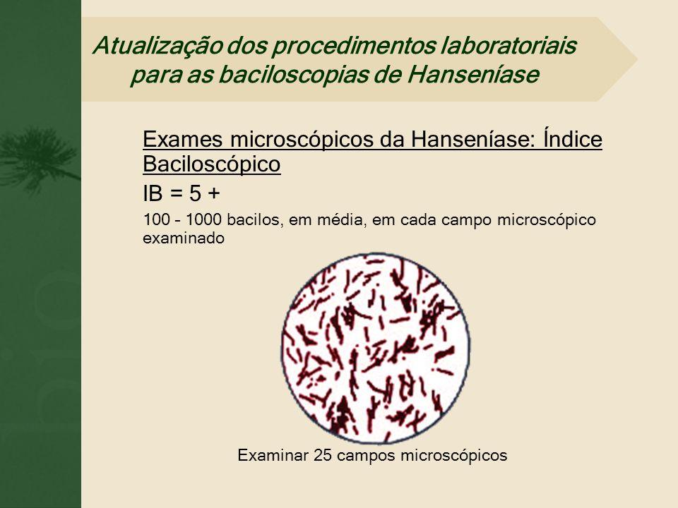 Exames microscópicos da Hanseníase: Índice Baciloscópico IB = 5 + 100 – 1000 bacilos, em média, em cada campo microscópico examinado Examinar 25 campo