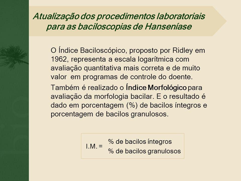 O Índice Baciloscópico, proposto por Ridley em 1962, representa a escala logarítmica com avaliação quantitativa mais correta e de muito valor em progr