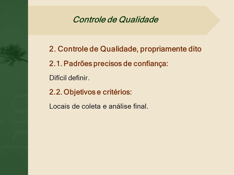 2. Controle de Qualidade, propriamente dito 2.1. Padrões precisos de confiança: Difícil definir. 2.2. Objetivos e critérios: Locais de coleta e anális