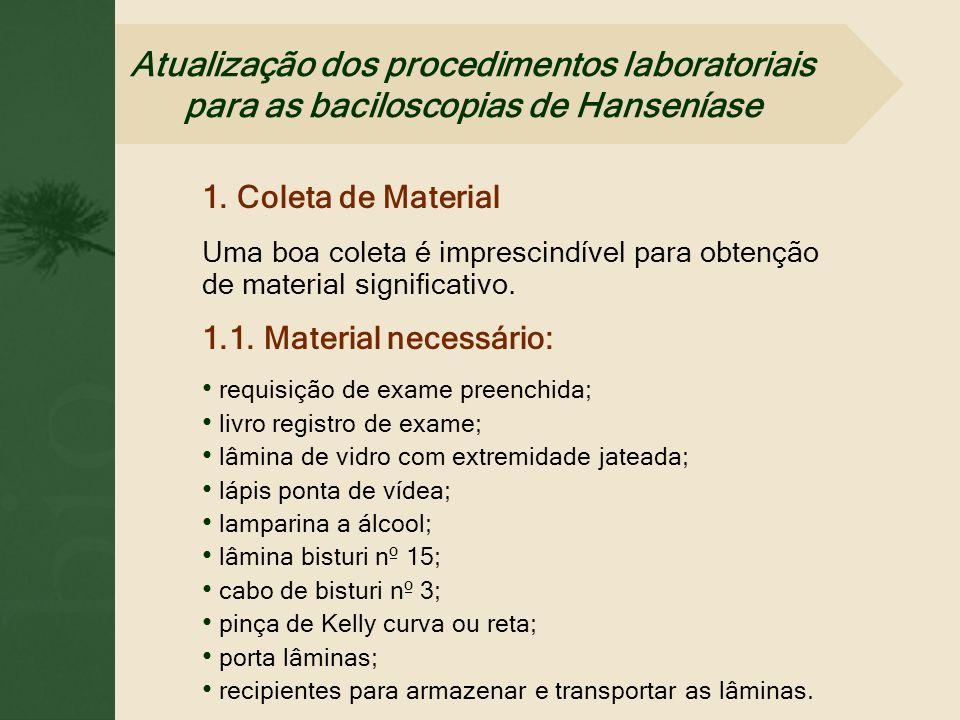 1. Coleta de Material Uma boa coleta é imprescindível para obtenção de material significativo. 1.1. Material necessário: requisição de exame preenchid