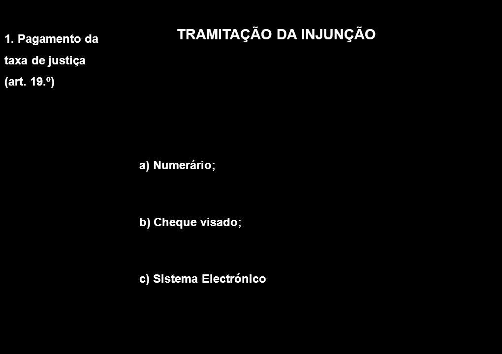 TRAMITAÇÃO DA INJUNÇÃO a) Numerário; b) Cheque visado; c) Sistema Electrónico 1. Pagamento da taxa de justiça (art. 19.º)