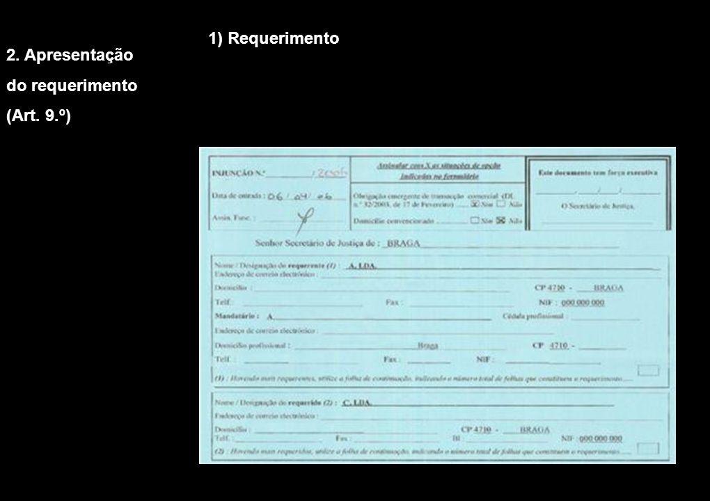 1) Requerimento 2. Apresentação do requerimento (Art. 9.º)