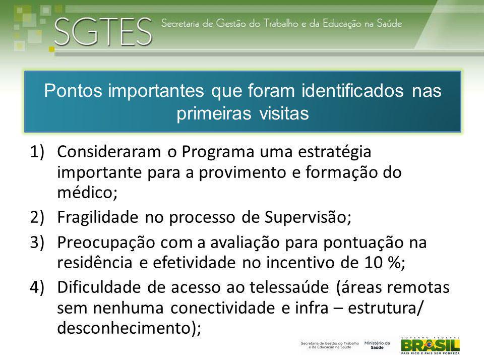 Pontos importantes que foram identificados nas primeiras visitas 1)Consideraram o Programa uma estratégia importante para a provimento e formação do m