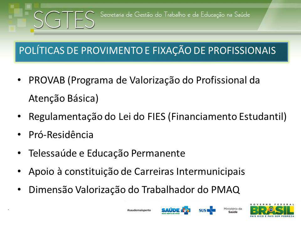 . POLÍTICAS DE PROVIMENTO E FIXAÇÃO DE PROFISSIONAIS PROVAB (Programa de Valorização do Profissional da Atenção Básica) Regulamentação do Lei do FIES