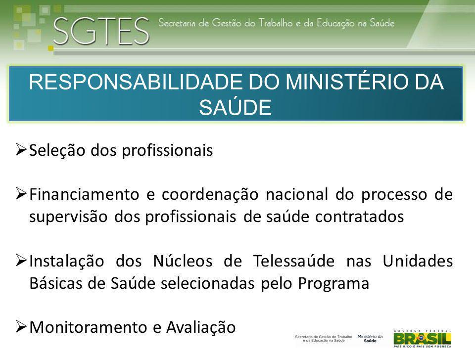 RESPONSABILIDADE DO MINISTÉRIO DA SAÚDE Seleção dos profissionais Financiamento e coordenação nacional do processo de supervisão dos profissionais de