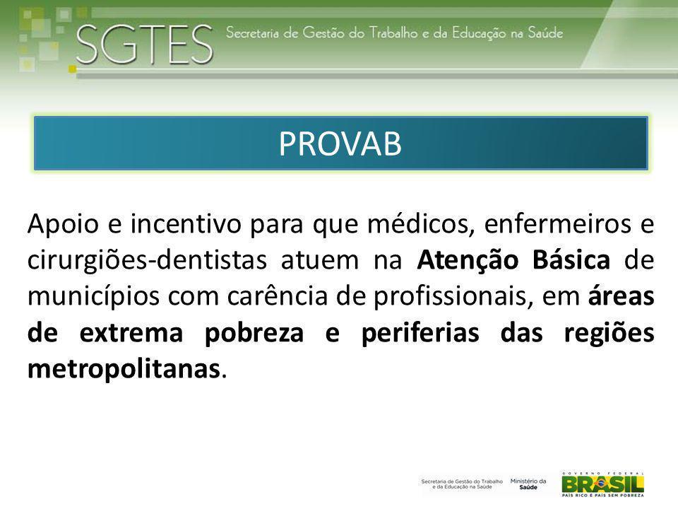 Apoio e incentivo para que médicos, enfermeiros e cirurgiões-dentistas atuem na Atenção Básica de municípios com carência de profissionais, em áreas de extrema pobreza e periferias das regiões metropolitanas.