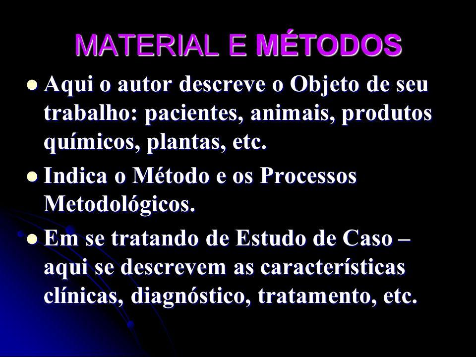 MATERIAL E MÉTODOS Aqui o autor descreve o Objeto de seu trabalho: pacientes, animais, produtos químicos, plantas, etc. Aqui o autor descreve o Objeto