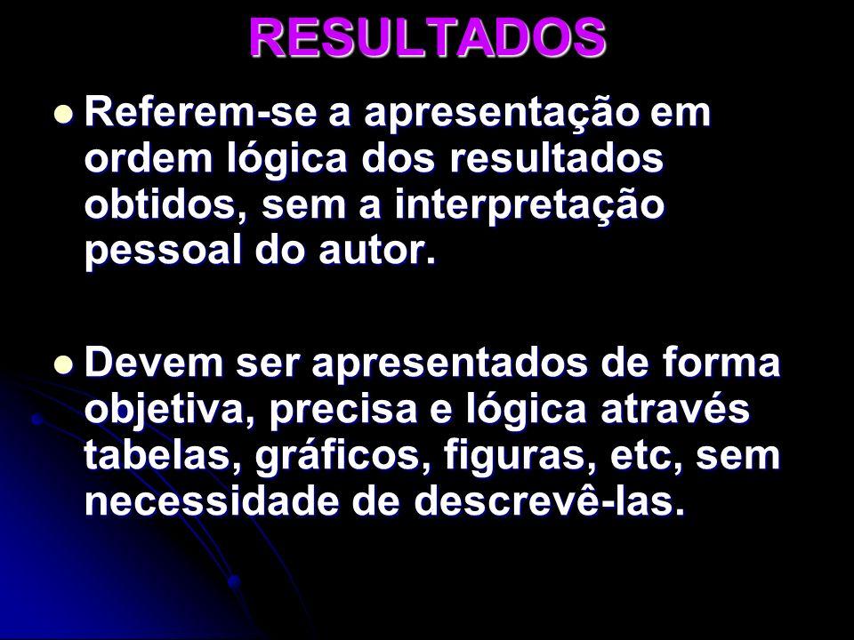 RESULTADOS Referem-se a apresentação em ordem lógica dos resultados obtidos, sem a interpretação pessoal do autor. Referem-se a apresentação em ordem