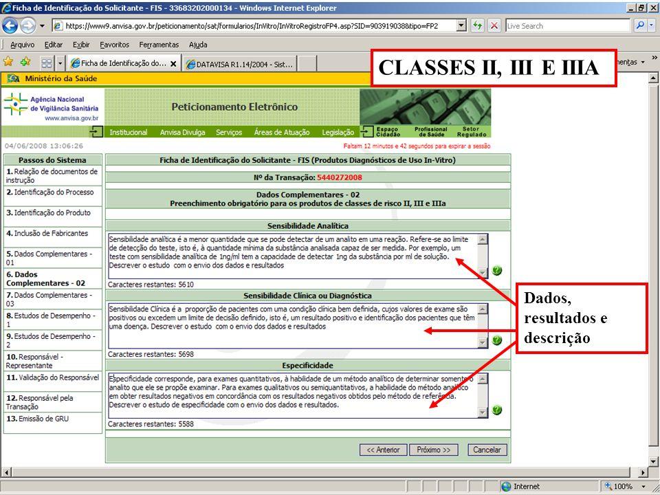 Agência Nacional de Vigilância Sanitária www.anvisa.gov.br Dados, resultados e descrição CLASSES II, III E IIIA