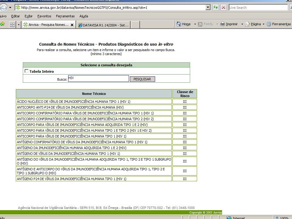 Agência Nacional de Vigilância Sanitária www.anvisa.gov.br Pesquisar nome técnico TODAS AS CLASSES