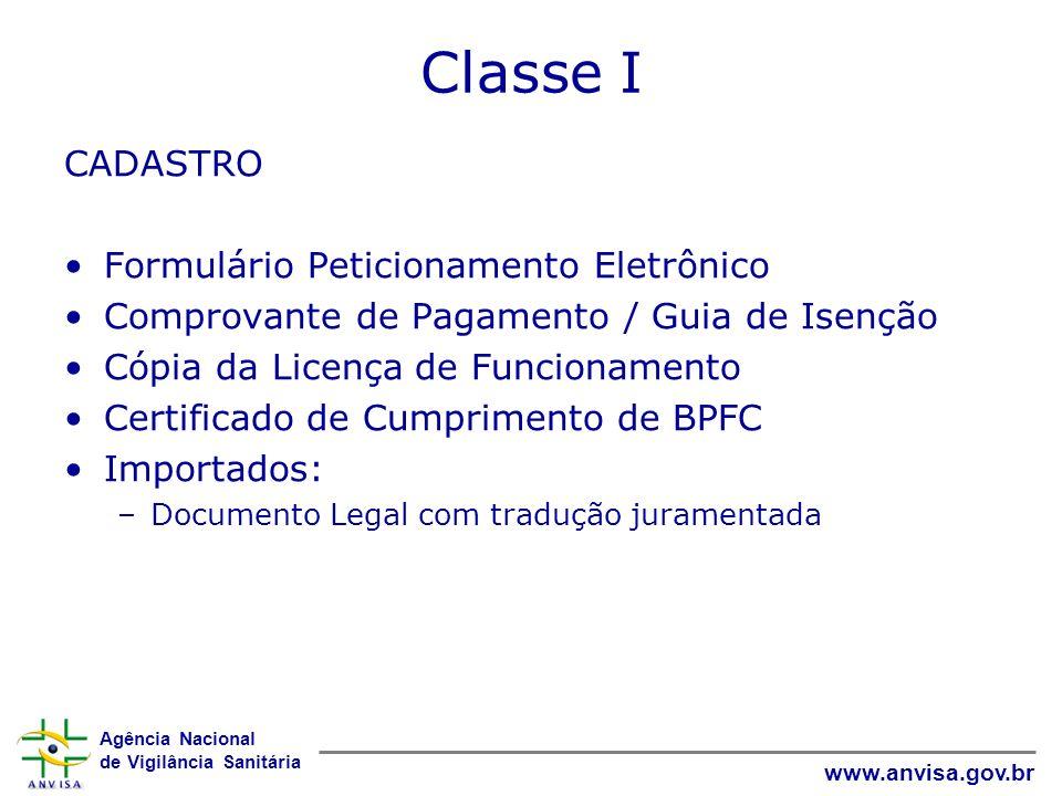 Agência Nacional de Vigilância Sanitária www.anvisa.gov.br Classe II REGISTRO Formulário Peticionamento Eletrônico Comprovante de Pagamento / Guia de Isenção Cópia da Licença de Funcionamento Certificado de Cumprimento de BPFC Importados: –Documento Legal com tradução juramentada –Relatório BPF ou CLC Relatório Simplificado: –Composição detalhada (substâncias e quantidades) –Fluxograma de produção descrevendo todas as etapas