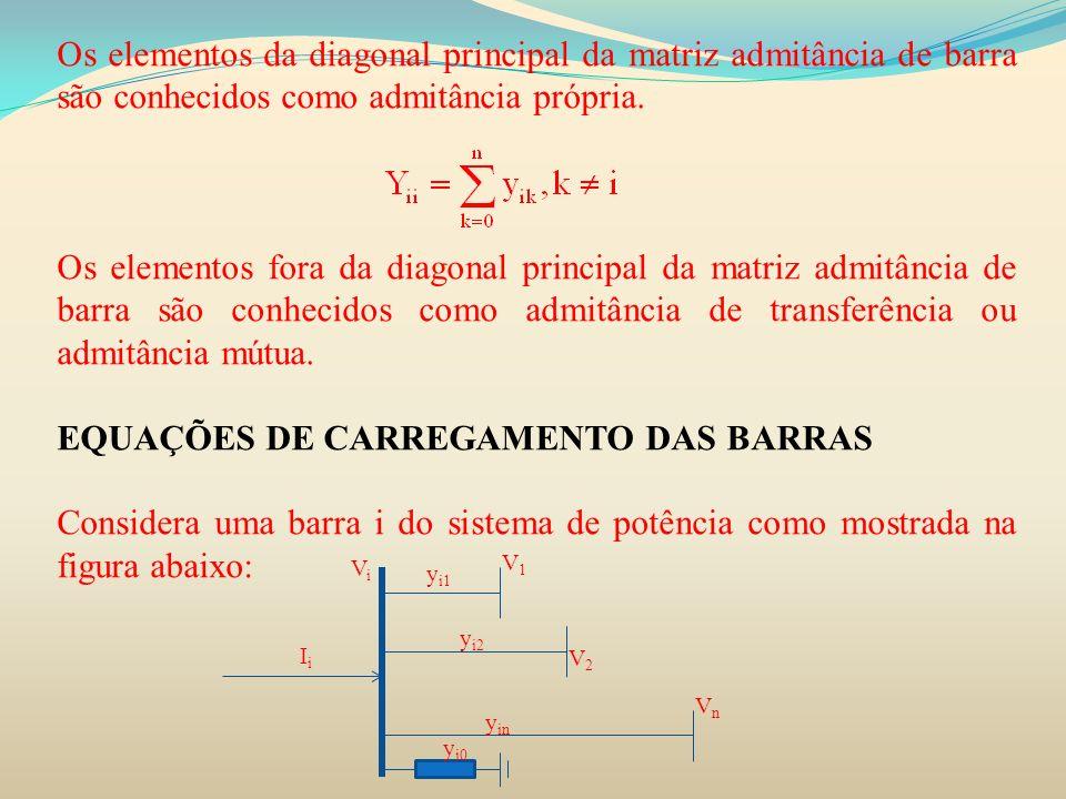 Os elementos da diagonal principal da matriz admitância de barra são conhecidos como admitância própria. Os elementos fora da diagonal principal da ma