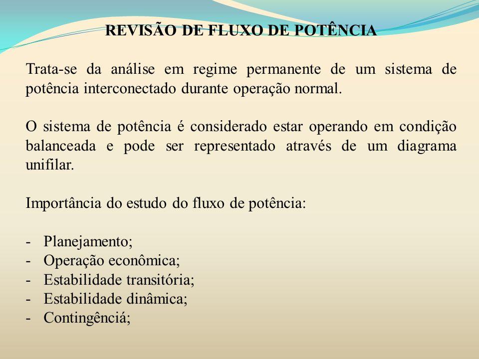REVISÃO DE FLUXO DE POTÊNCIA Trata-se da análise em regime permanente de um sistema de potência interconectado durante operação normal. O sistema de p