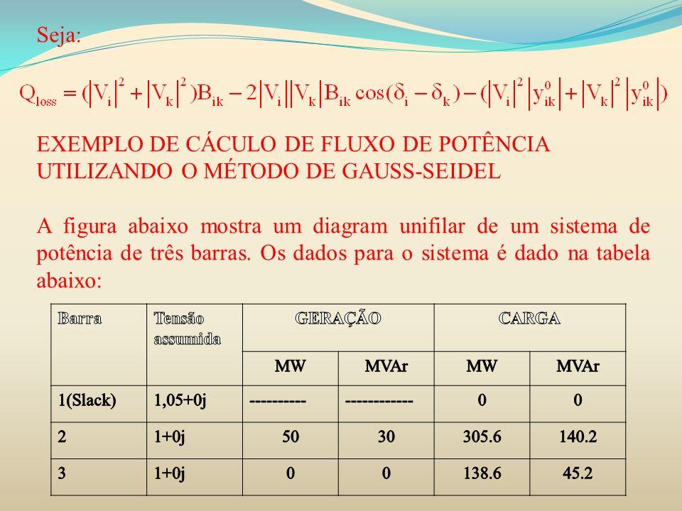 Seja: EXEMPLO DE CÁCULO DE FLUXO DE POTÊNCIA UTILIZANDO O MÉTODO DE GAUSS-SEIDEL A figura abaixo mostra um diagram unifilar de um sistema de potência