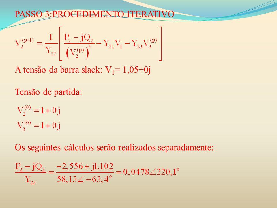 PASSO 3:PROCEDIMENTO ITERATIVO A tensão da barra slack: V 1 = 1,05+0j Tensão de partida: Os seguintes cálculos serão realizados separadamente: