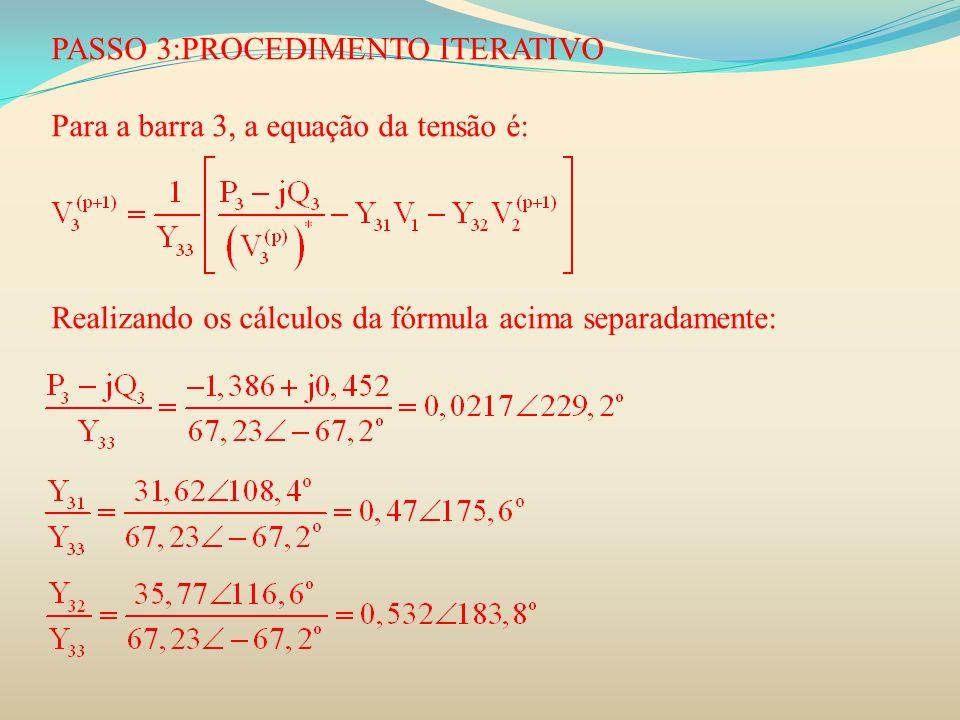 PASSO 3:PROCEDIMENTO ITERATIVO Para a barra 3, a equação da tensão é: Realizando os cálculos da fórmula acima separadamente: