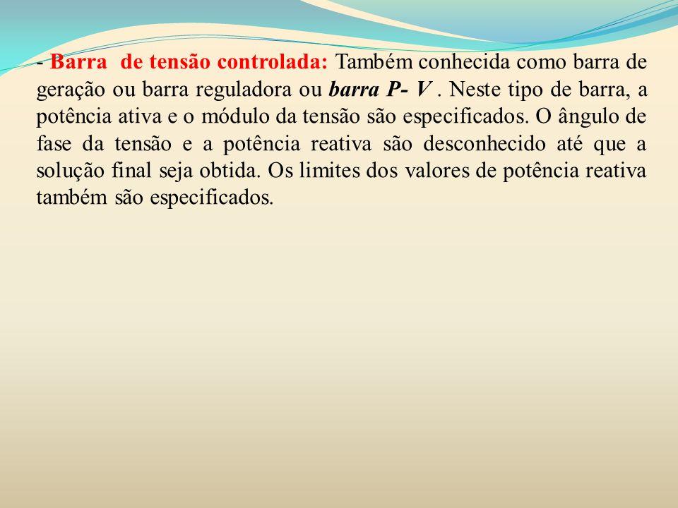 MATRIZ ADMITÂNCIA DE BARRA De maneira simplificada as resistências das linhas são desprezadas e as impedâncias estão em pu numa base comum.