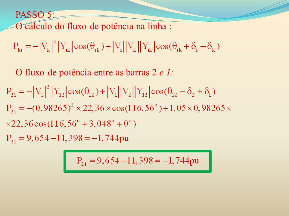 PASSO 5: O cálculo do fluxo de potência na linha : O fluxo de potência entre as barras 2 e 1: