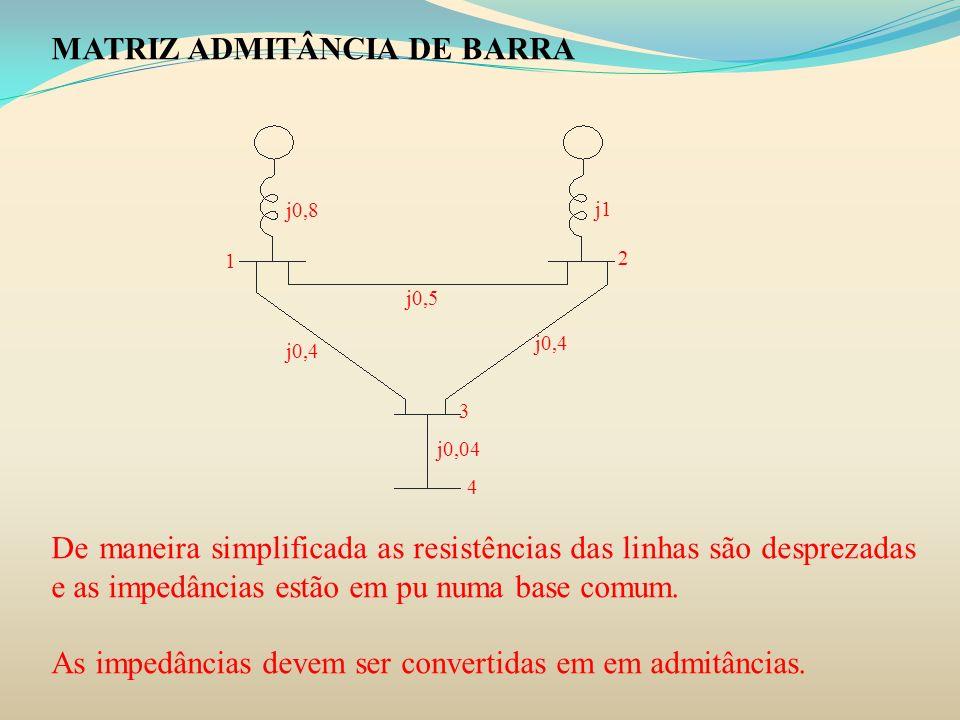 MATRIZ ADMITÂNCIA DE BARRA De maneira simplificada as resistências das linhas são desprezadas e as impedâncias estão em pu numa base comum. As impedân