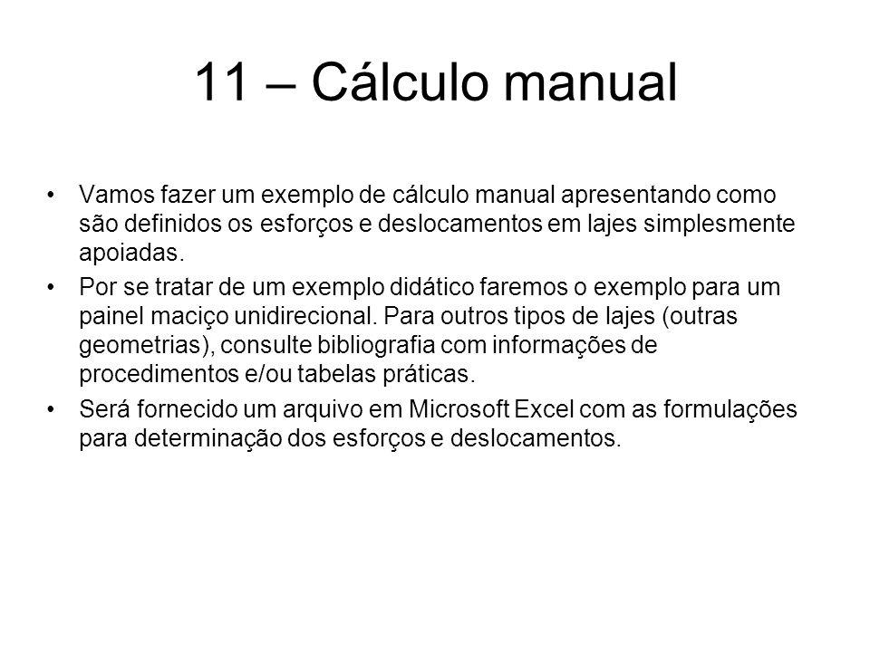 11 – Cálculo manual Vamos fazer um exemplo de cálculo manual apresentando como são definidos os esforços e deslocamentos em lajes simplesmente apoiadas.