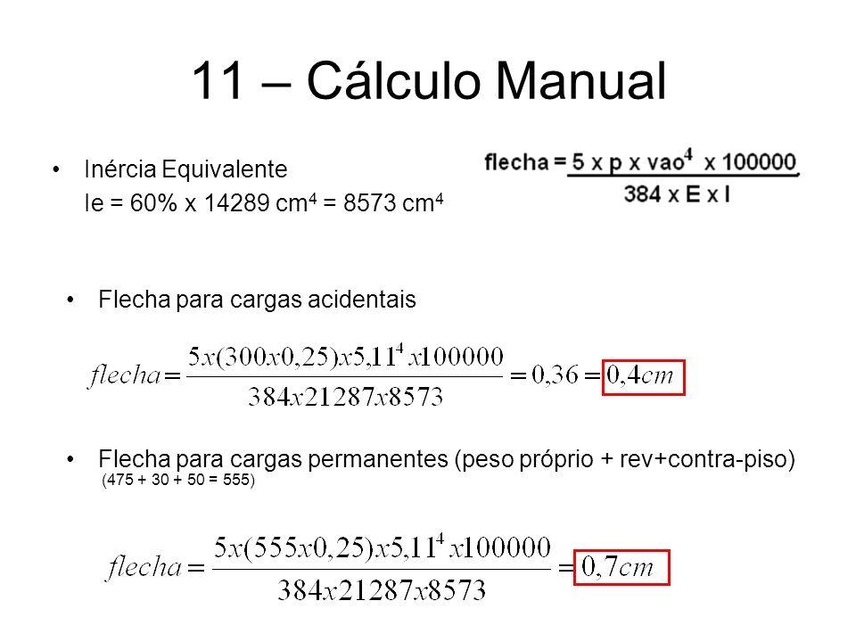 11 – Cálculo Manual Inércia Equivalente Ie = 60% x 14289 cm 4 = 8573 cm 4 Flecha para cargas acidentais Flecha para cargas permanentes (peso próprio +