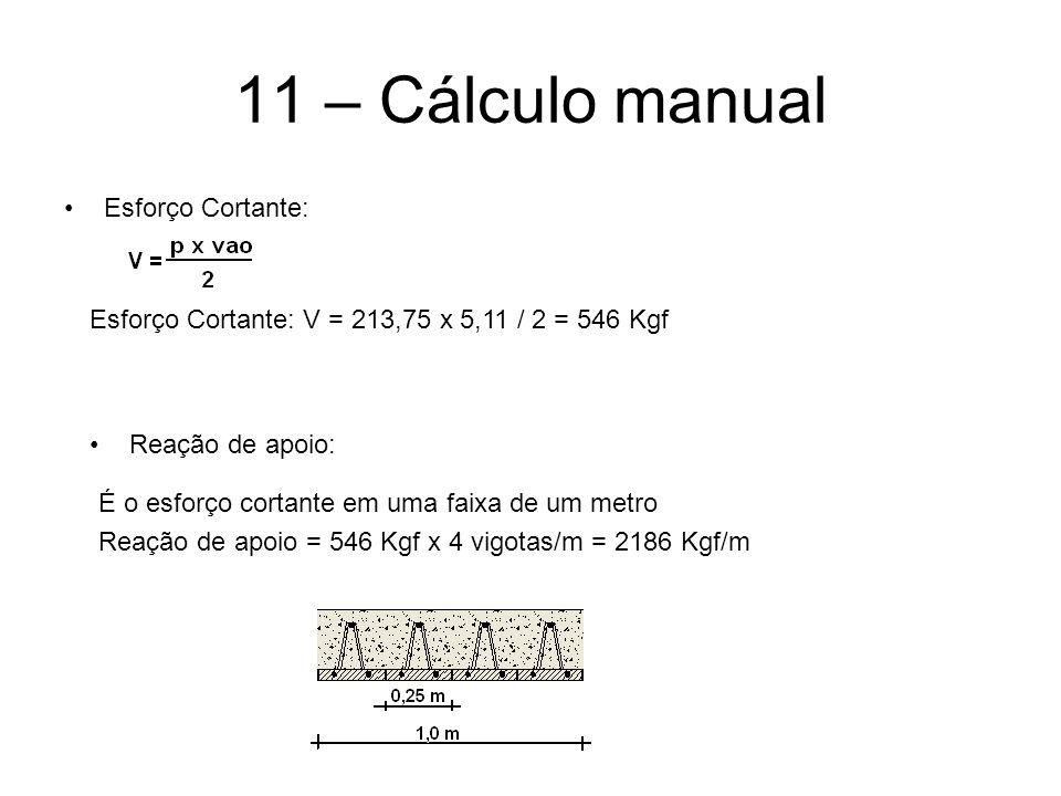 11 – Cálculo manual Esforço Cortante: Esforço Cortante: V = 213,75 x 5,11 / 2 = 546 Kgf Reação de apoio: É o esforço cortante em uma faixa de um metro
