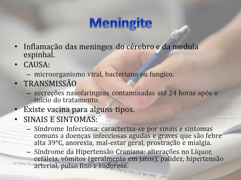 Inflamação das meninges do cérebro e da medula espinhal. CAUSA: – microorganismo viral, bacteriano ou fungíco. TRANSMISSÃO – secreções nasofaringeas c