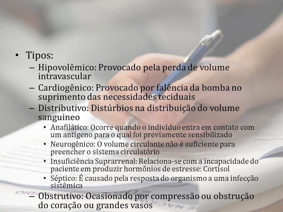 Tipos: – Hipovolêmico: Provocado pela perda de volume intravascular – Cardiogênico: Provocado por falência da bomba no suprimento das necessidades tec