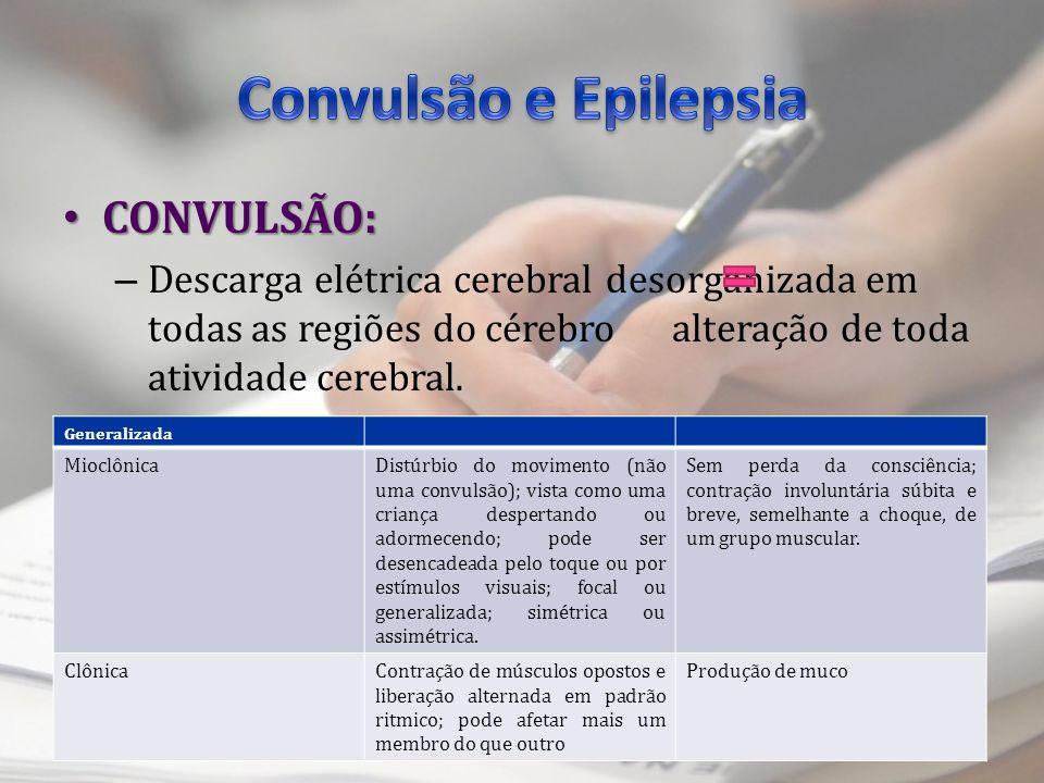 CONVULSÃO: CONVULSÃO: – Descarga elétrica cerebral desorganizada em todas as regiões do cérebro alteração de toda atividade cerebral. TIPOS: Generaliz