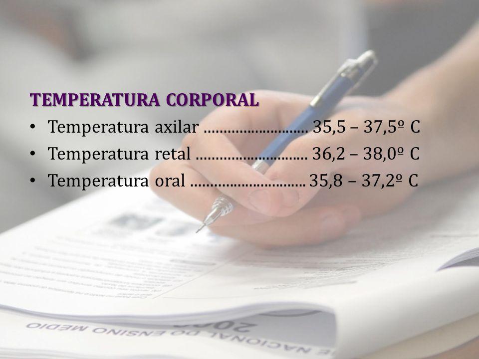 TEMPERATURA CORPORAL Temperatura axilar........................... 35,5 – 37,5º C Temperatura retal............................. 36,2 – 38,0º C Temper
