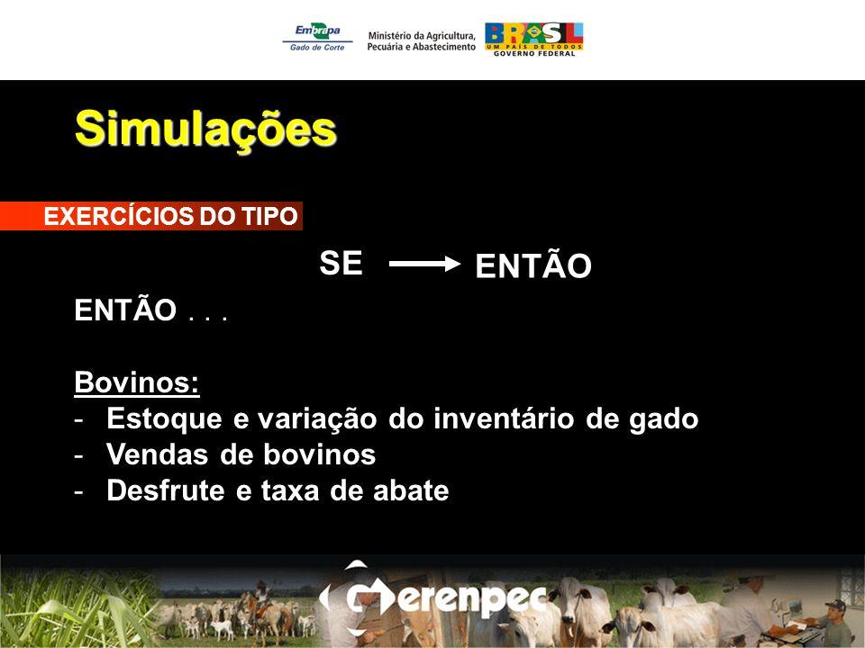 Simulações EXERCÍCIOS DO TIPO ENTÃO... Bovinos: -Estoque e variação do inventário de gado -Vendas de bovinos -Desfrute e taxa de abate SE ENTÃO