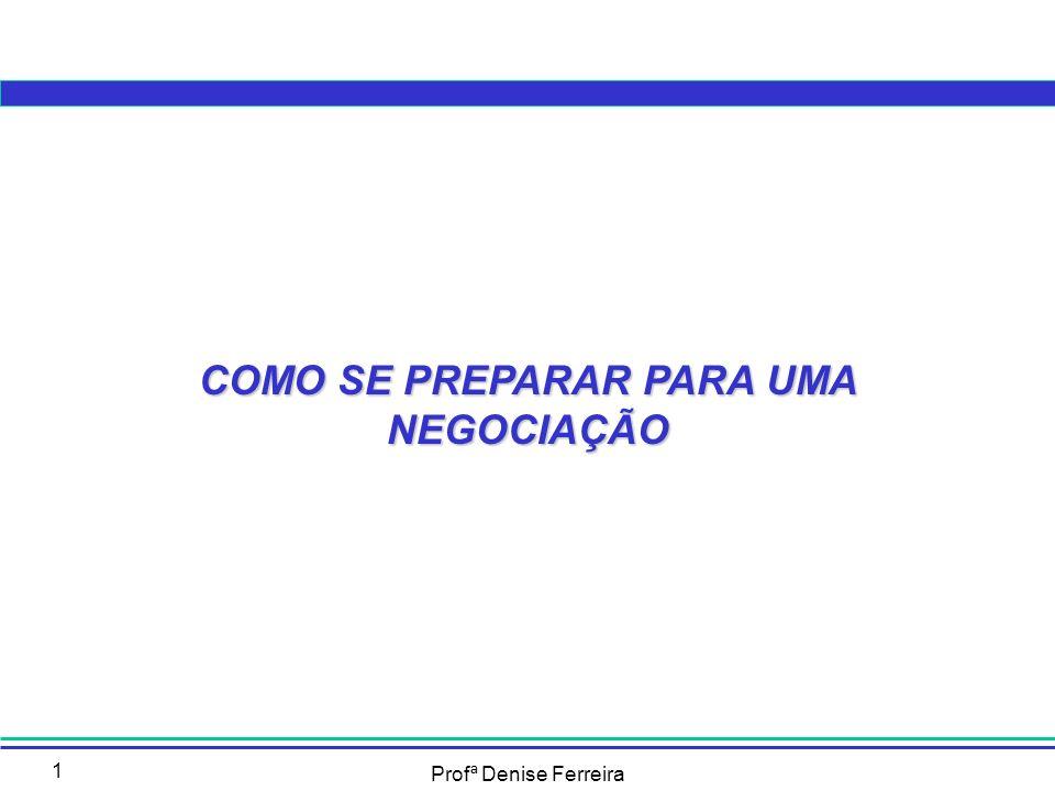 Profª Denise Ferreira 22 Antes da reunião: a Preparação – 4 Estratégia e táticas de negociação Passos para montagem de uma tática PassosTarefa 1 Definir o que se quer dentro de determinada etapa; 2Pensar nas possíveis ações para alcançar o objetivo e selecionar as mais adequadas; 3 Imaginar os possíveis impactos da tática no oponente e as possíveis respostas a serem recebidas; 4 Pensar em cada uma das possíveis respostas do oponente Se esta simulação mostrar que o objetivo pode ser alcançado, a tática escolhida é a correta, se apresentar dificuldades, buscar outra tática.