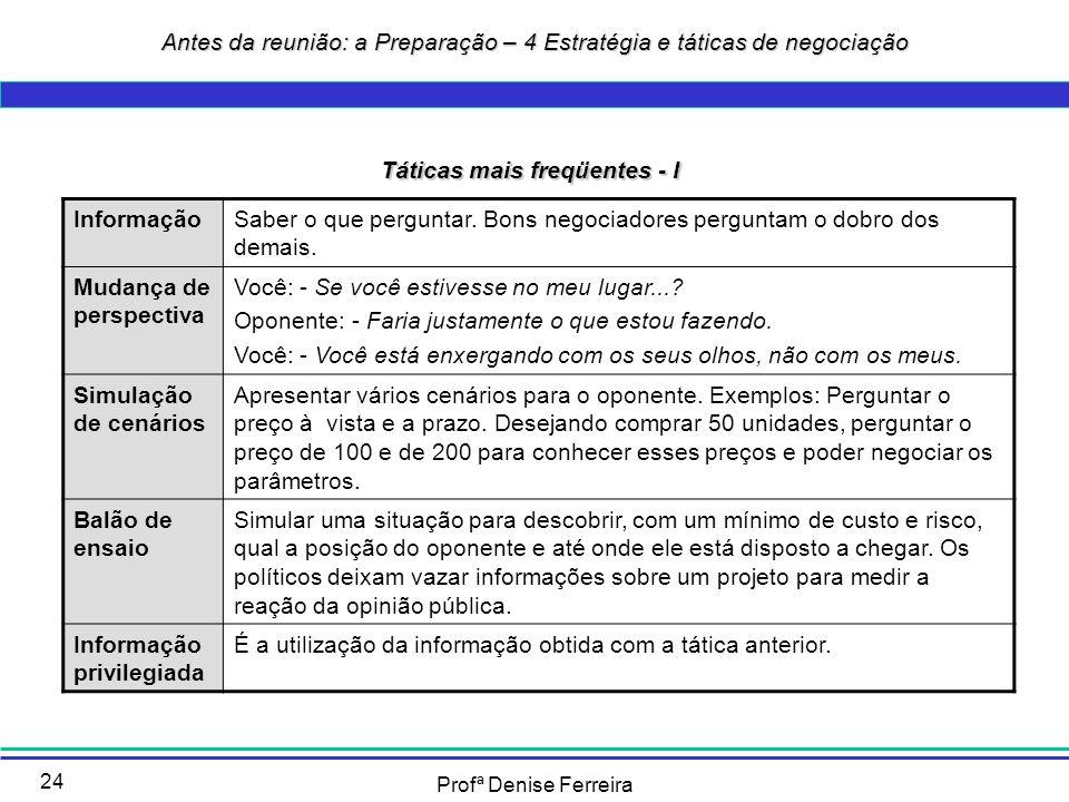 Profª Denise Ferreira 24 Táticas mais freqüentes - I InformaçãoSaber o que perguntar. Bons negociadores perguntam o dobro dos demais. Mudança de persp