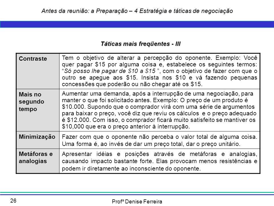 Profª Denise Ferreira 26 Táticas mais freqüentes - III Contraste Tem o objetivo de alterar a percepção do oponente. Exemplo: Você quer pagar $15 por a