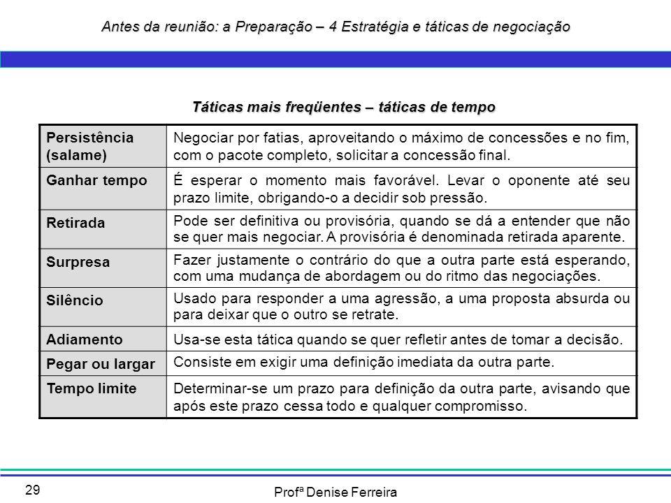Profª Denise Ferreira 29 Táticas mais freqüentes – táticas de tempo Persistência (salame) Negociar por fatias, aproveitando o máximo de concessões e n